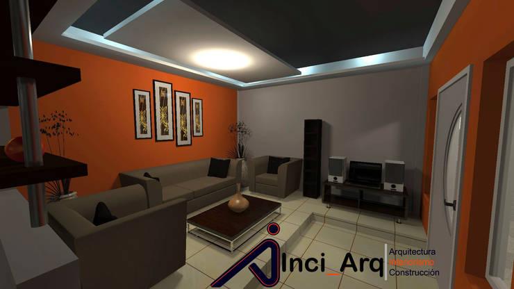 Diseño Interno de Sala Acondicionada para Vivienda Unifamiliar: Salas / recibidores de estilo  por Inci_Arq