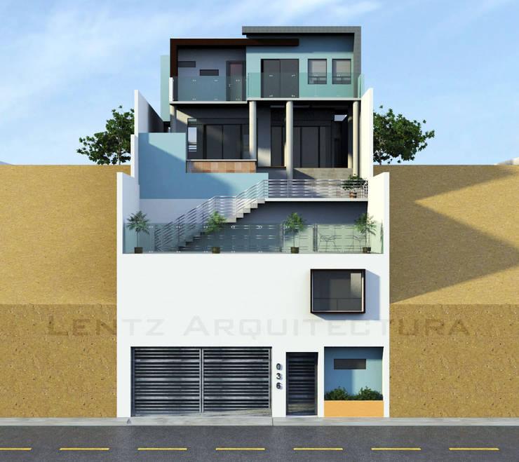 Fachada Posterior - 2do Acceso: Casas de estilo  por Lentz Arquitectura Diseño y Construcción