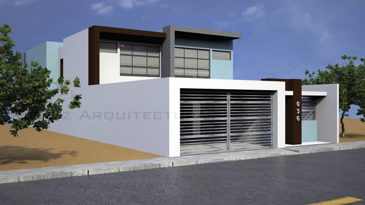Fachada Lateral 1: Casas de estilo  por Lentz Arquitectura Diseño y Construcción