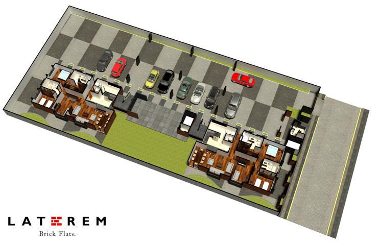 LATEREM BRICK FLATS: Pasillos y recibidores de estilo  por Del Castillo Arquitectos
