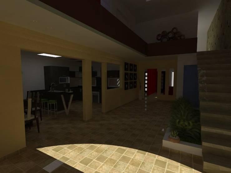 REMODELACIÓN CASA-HABITACIÓN: Pasillos y recibidores de estilo  por MVarquitectos