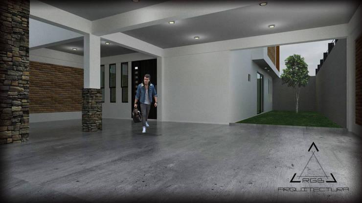 VISTA DE COCHERA Y PATIO :  de estilo  por RGB - Arquitectura