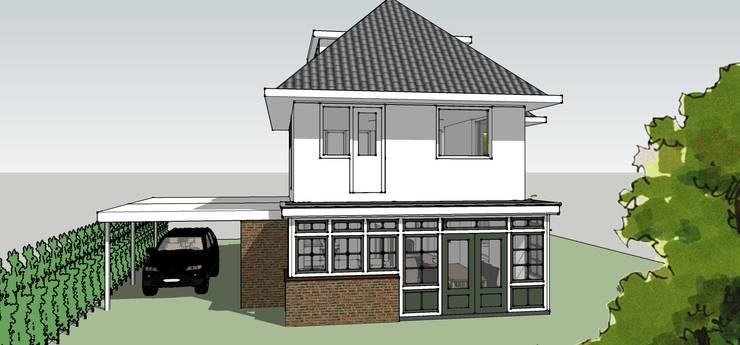 Aanbouw en carport:  Huizen door De E-novatiewinkel, Klassiek Steen