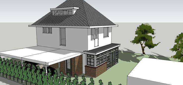 Aanbouw en carport:  Huizen door De E-novatiewinkel, Klassiek Hout Hout
