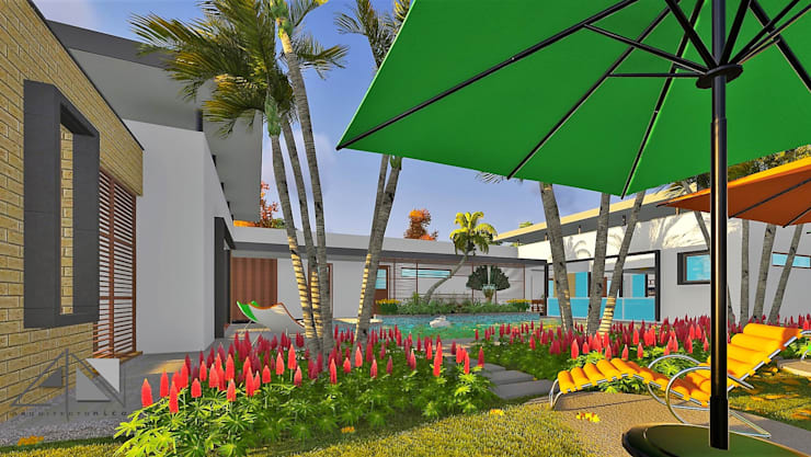 piscina y jardín:  de estilo  por ARQUITECTOnico