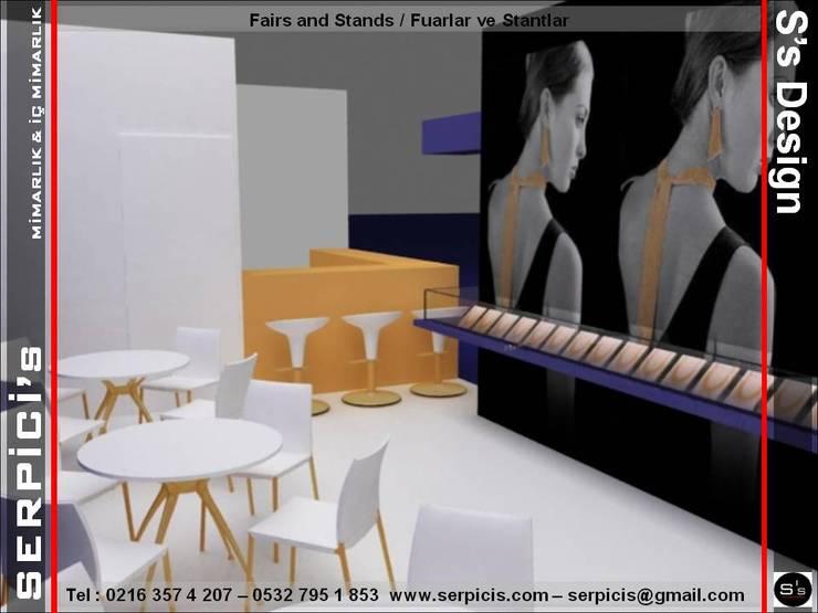 SERPİCİ's Mimarlık ve İç Mimarlık Architecture and INTERIOR DESIGN – TUANA KUYUMCULUK – FUAR PROJE TASARIM ve UYGULAMALARI – SERPİCİ's MİMARLIK ve İÇ MİMARLIK – S's Desıgn:  tarz Etkinlik merkezleri, Modern Ahşap Ahşap rengi
