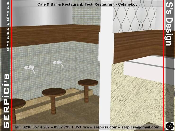 SERPİCİ's Mimarlık ve İç Mimarlık Architecture and INTERIOR DESIGN – TESTİ RESTAURANT ÇEKMEKÖY - KAFE BAR RESTAURANT PROJELERİ - SERPİCİ's MİMARLIK ve İÇ MİMARLIK – S's Desıgn:  tarz Yeme & İçme, Klasik Mermer