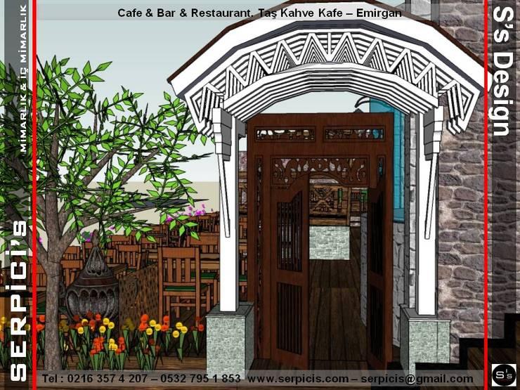 SERPİCİ's Mimarlık ve İç Mimarlık Architecture and INTERIOR DESIGN – TAŞ KAHVE KAFE EMİRGAN - KAFE BAR RESTAURANT PROJELERİ - SERPİCİ's MİMARLIK ve İÇ MİMARLIK – S's Desıgn:  tarz Yeme & İçme, Klasik İşlenmiş Ahşap Şeffaf