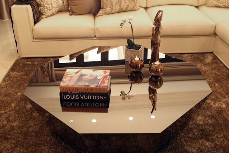 Coffee Table Details:  Living room by Tru Interiors