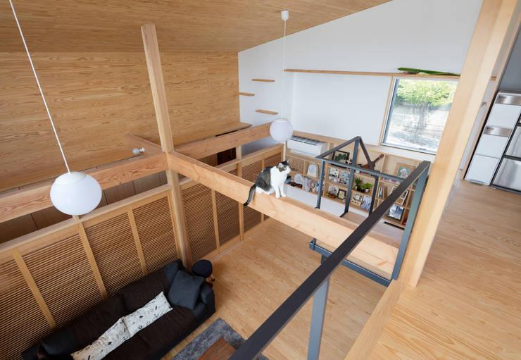 展望台の家: ろく設計室が手掛けたリビングです。