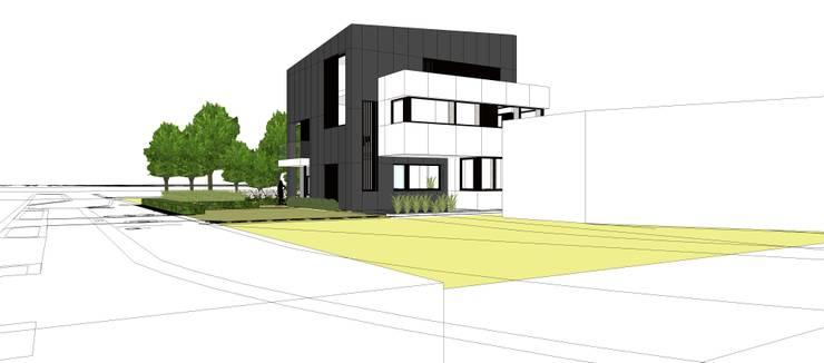 Rechterzijaanzicht voorgevel:  Huizen door AVENIRarchitecten bvba