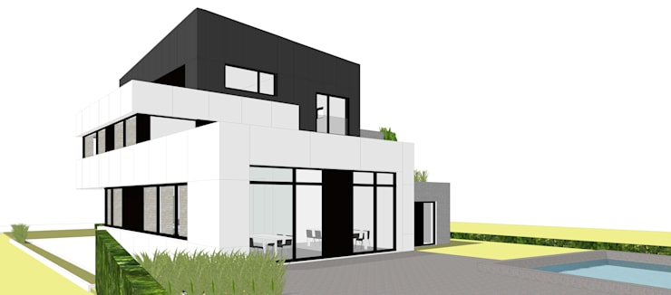 Achteraanzicht:  Huizen door AVENIRarchitecten bvba