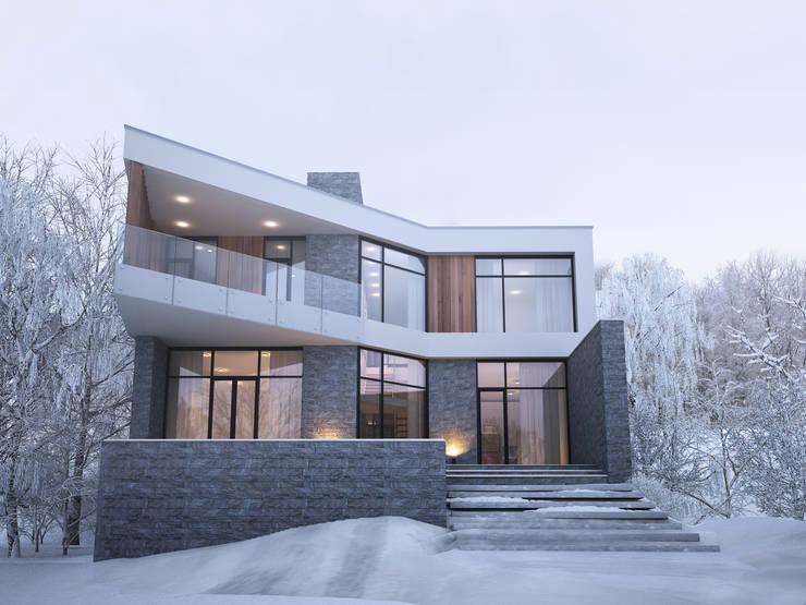 Projekty, minimalistyczne Domy zaprojektowane przez премиум интериум