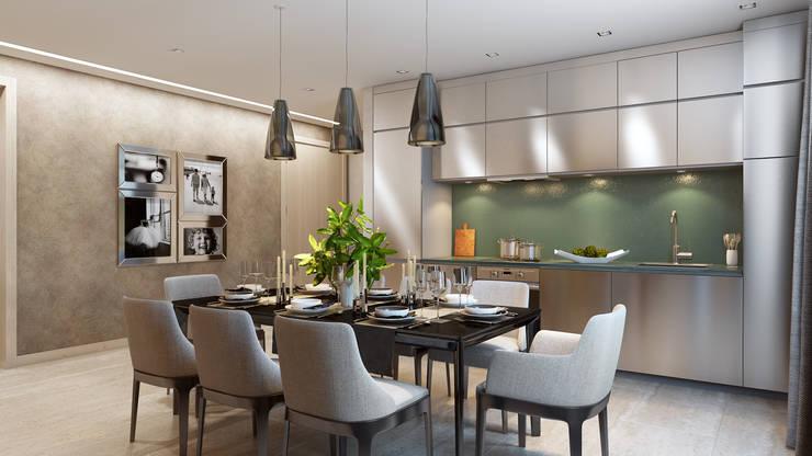 Квартира на основе современных американских интерьеров: Столовые комнаты в . Автор – Дарья Баранович Дизайн Интерьера