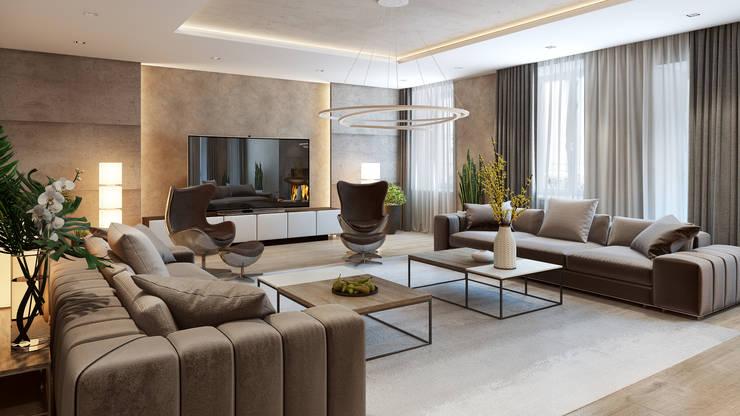 Квартира на основе современных американских интерьеров: Гостиная в . Автор – Дарья Баранович Дизайн Интерьера