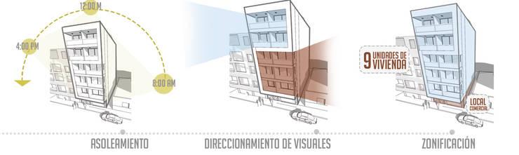 Torre Ángel: Paredes de estilo  por Le.tengo Arquitectos