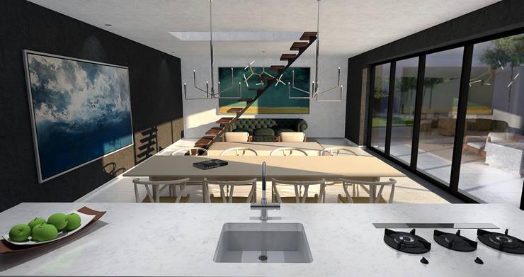 Villa Noir - View from kitchen:  Keuken door Schneijderberg Architectuur & Design