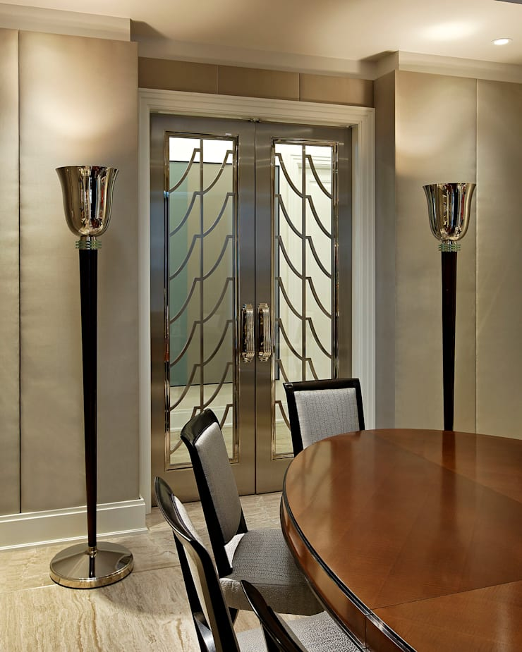 Art Deco Doors:  Dining room by Douglas Design Studio