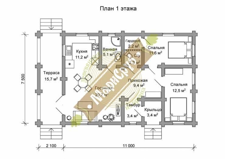 """Дачный дом из бревна """"Майский"""": Дома в . Автор – Марисруб"""