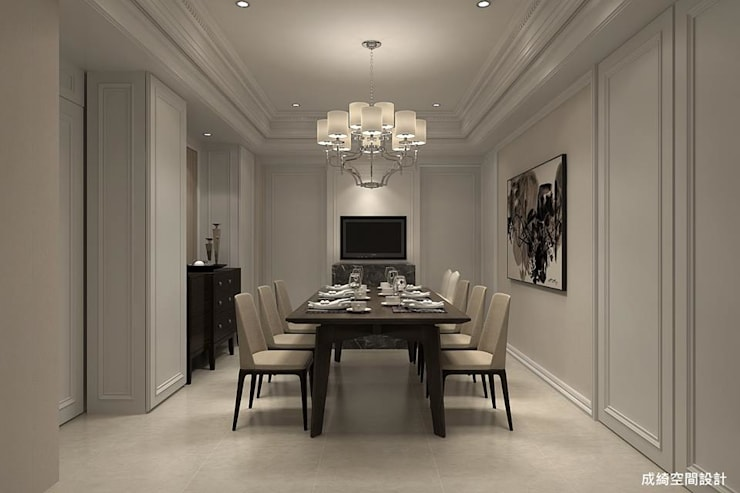 新古典的白色浪漫:  餐廳 by 成綺空間設計