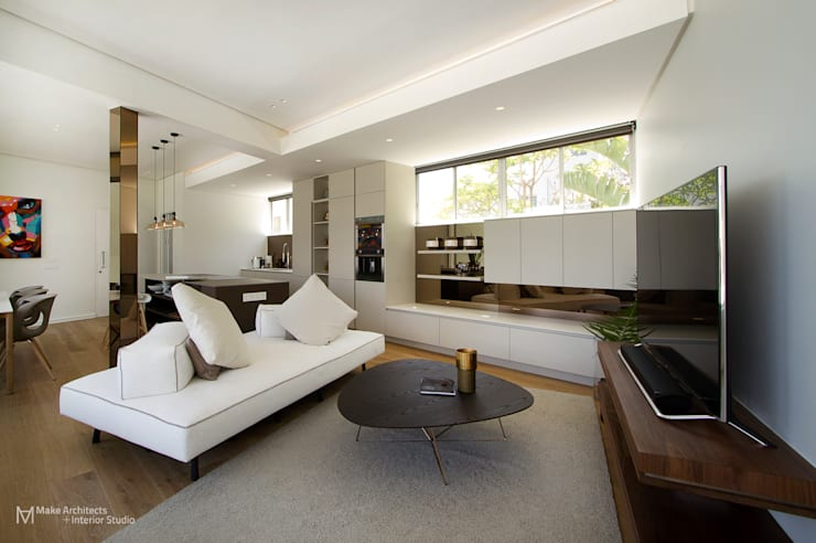 Clifton Apartment:  Living room by Make Architects + Interior Studio