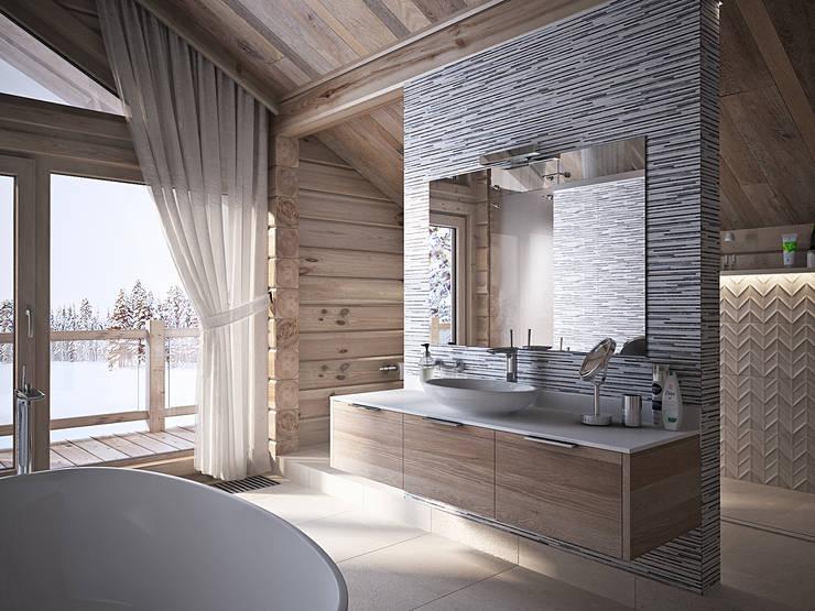 Загородный дом из бруса: Ванные комнаты в . Автор – премиум интериум