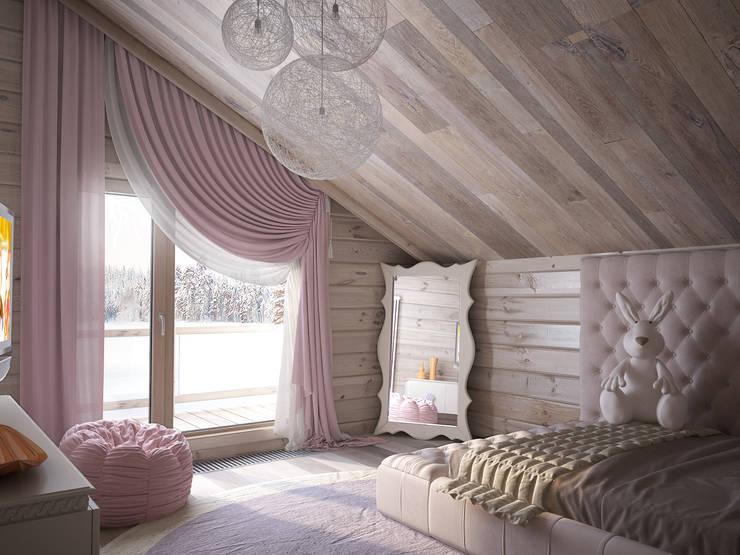 Загородный дом из бруса: Детские комнаты в . Автор – премиум интериум