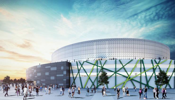 Fachada Coliseo el Campin: Casas de estilo  por Arquitectura y Diseño Digital