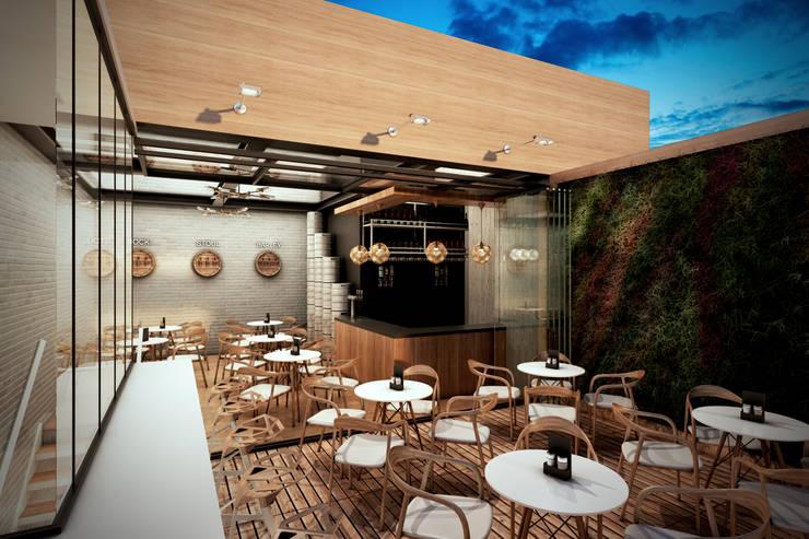 Pub – Bogotá: Pasillos y vestíbulos de estilo  por Arquitectura y Diseño Digital