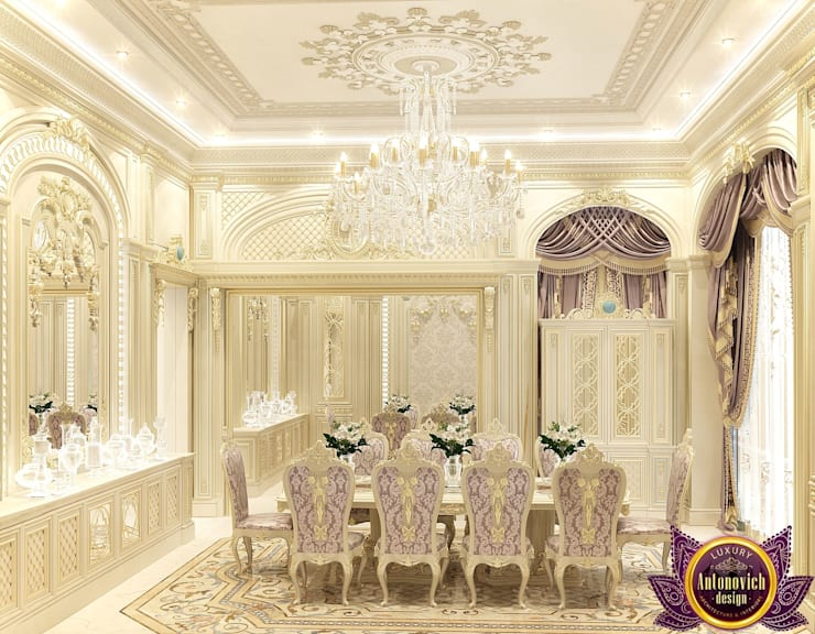 Dining room Interior design of Katrina Antonovich:  Dining room by Luxury Antonovich Design