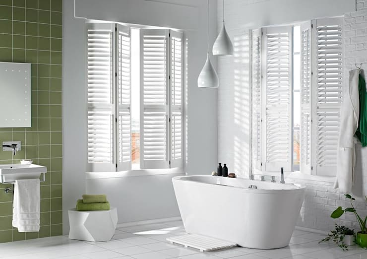 Lifetime Vinyl Shutters in a Bathroom: classic Bathroom by Thomas Sanderson