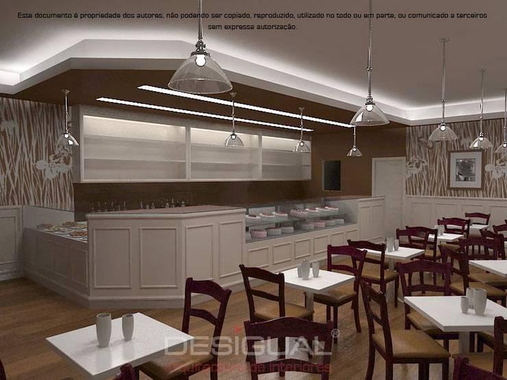 Projeto 3D_Cafetaria:   por Desigual - Arquitectura de Interiores, Lda