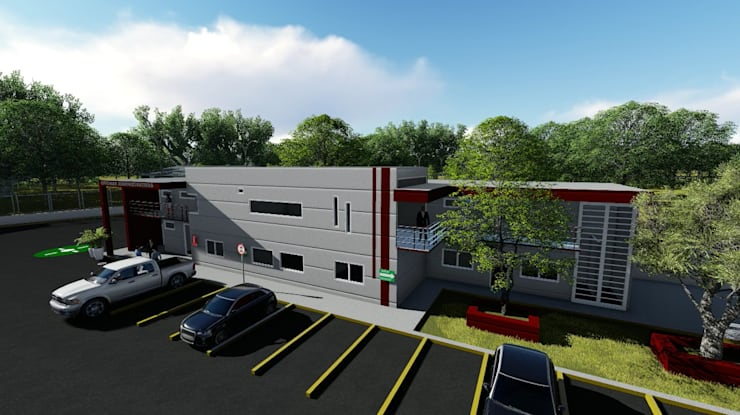 Oficinas y estacionamiento:  de estilo  por iA Soluciones de Ingeniería y Aquitectura