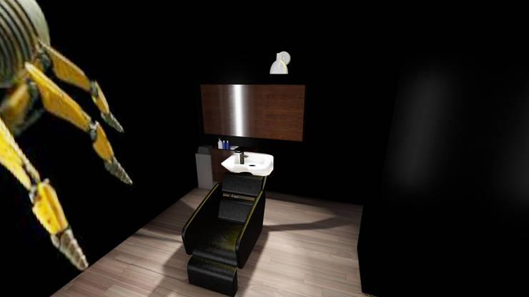Diseño de espacio para Barberia: Espacios comerciales de estilo  por iA Soluciones de Ingeniería y Aquitectura