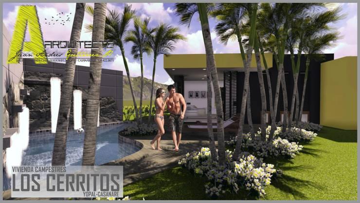 Casa Los Cerros: Jardines de estilo  por ARQUITECTO JUAN ANDRES GUTIERREZ PEREZ, Moderno