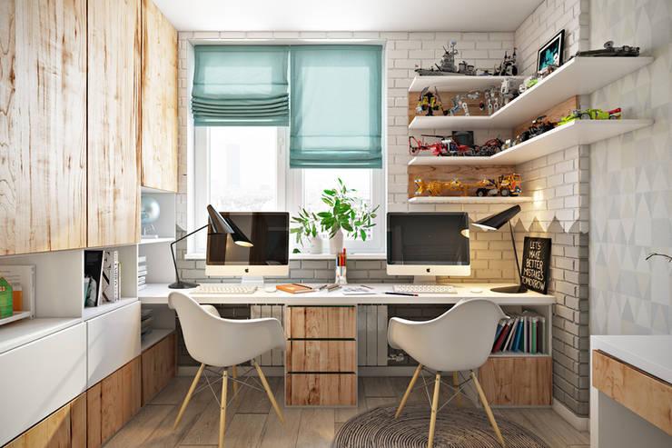 Oficinas de estilo escandinavo por Дарья Баранович Дизайн Интерьера