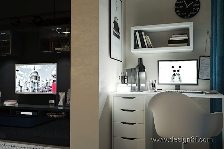 Интерьер квартиры студии: Рабочие кабинеты в . Автор – студия Design3F, Минимализм