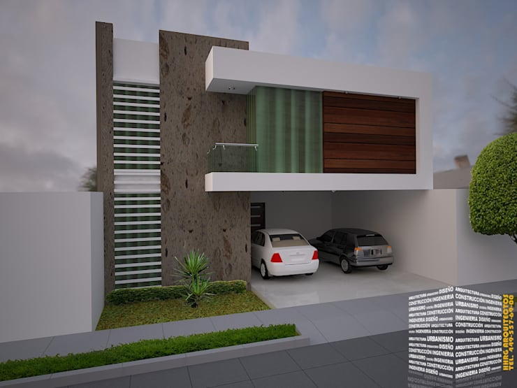 FACHADA CON BALCÓN LATERAL: Casas de estilo minimalista por HHRG ARQUITECTOS