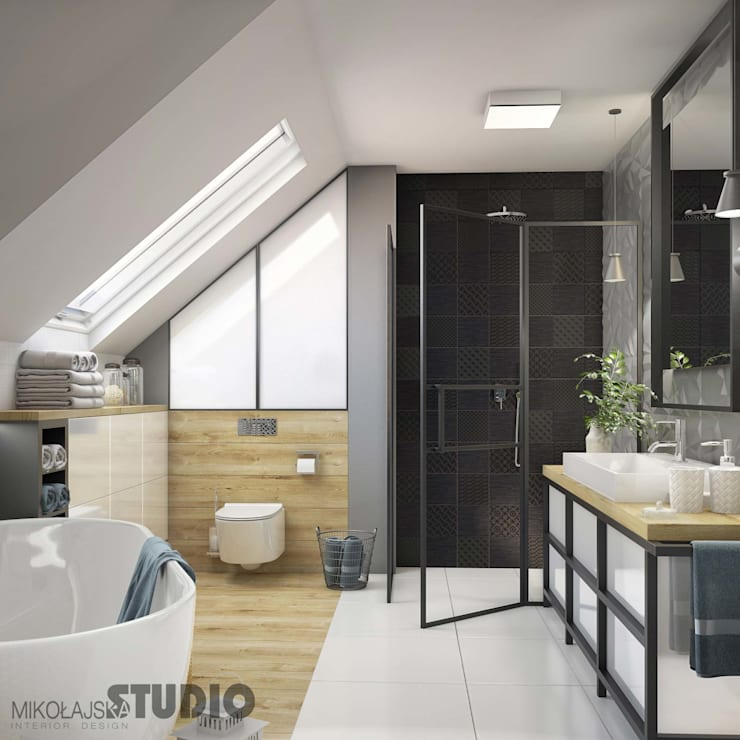 industrial Bathroom by MIKOŁAJSKAstudio
