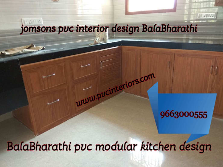 pvc  kitchen cabinets in coimbatore,kithcen cabinets in coimbatore-balabharathi:  Kitchen by balabharathi pvc interior design