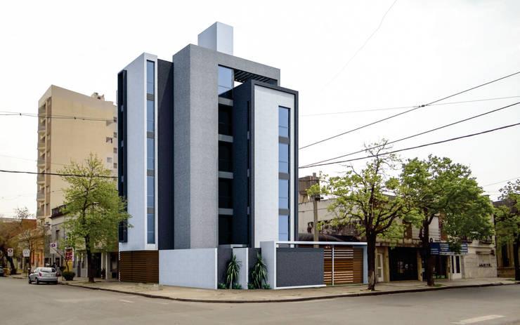 EDIFICIO DE OFICINAS: Estudios y oficinas de estilo  por D'ODORICO ARQUITECTURA,