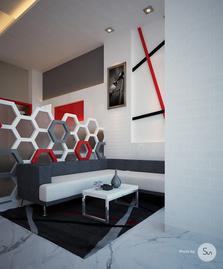 Office Interior:  Walls & flooring by sudin patil architects