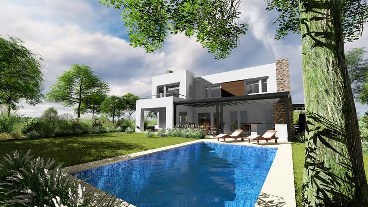 vista sobre jardin:  de estilo  por Rocha & Figueroa Bunge arquitectos,