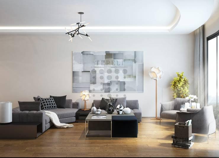 Tepeli İç Mimarlık – Tema İstanbul Evi - Halkalı - Konsept Proje Çalışması:  tarz Oturma Odası
