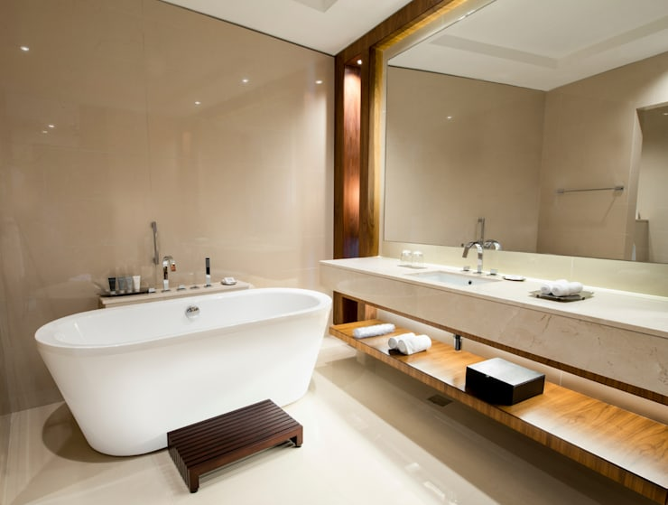 Neutral With Wood Details: modern Bathroom by Gracious Luxury Interiors