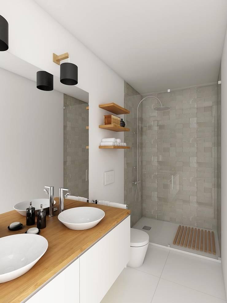 Casa de Banho - APARTAMENTO - T1 - S. BENTO  : Casa de banho  por EU LISBOA,