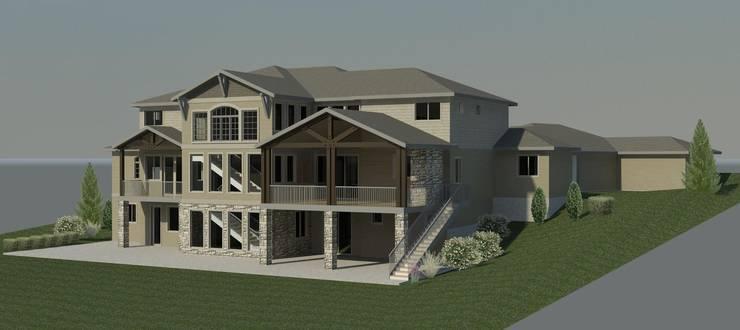三層木造建築, 依地勢而建並加上客戶所要的露天陽台:  房子 by monaco design