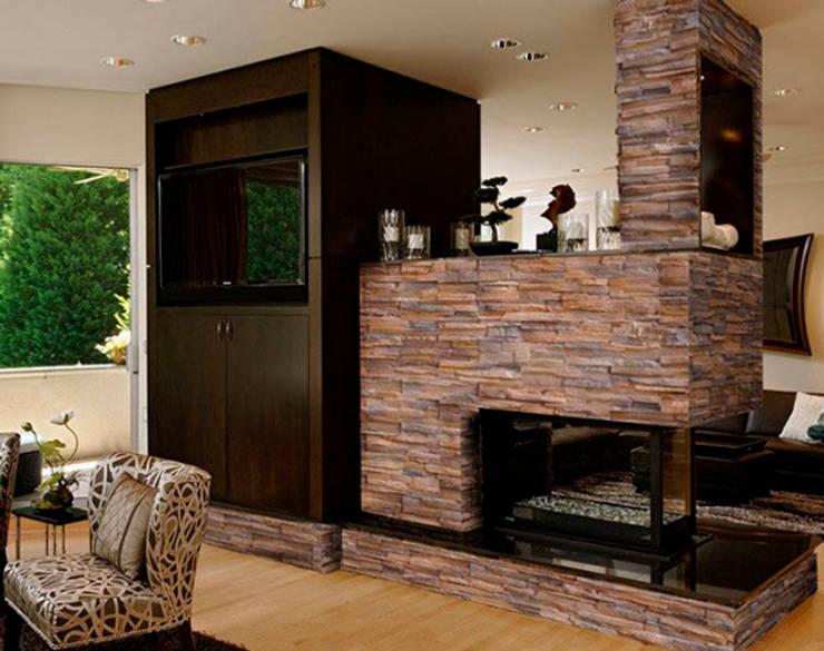 Piedra Apilable Peñasco Canela: Paredes y pisos de estilo moderno por ENFOQUE CONSTRUCTIVO