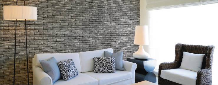 Piedra Tabique Huatulco Recinto: Paredes y pisos de estilo moderno por ENFOQUE CONSTRUCTIVO