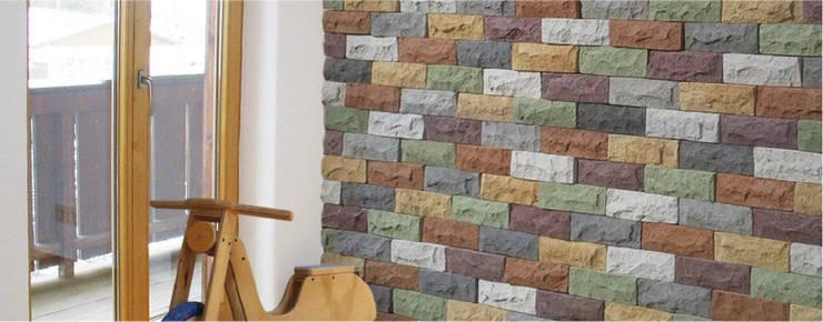 Piedra Piedrin Conffeti: Paredes y pisos de estilo moderno por ENFOQUE CONSTRUCTIVO